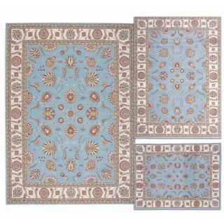 Nourison Persian Floral Collection Blue Rug 3pc Set 3'11 x 5'3, 5'3 x 7'3, 7'10 x 10'6