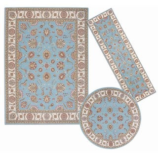 Nourison Persian Floral Collection Blue Rug 3pc Set 2'2 x 7'3, 5'3 x 5'3 Round, 7'10 x 10'6