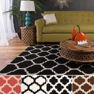 Hand-woven Kramer Moroccan Trellis Geometric Flatweave Wool Area Rug