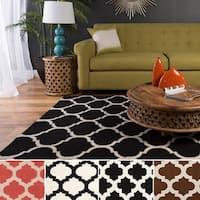 Hand-woven Kramer Moroccan Trellis Geometric Flatweave Wool Area Rug - 9' x 13'