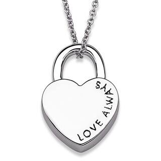 """Love Always"" Heart Lock Necklace|https://ak1.ostkcdn.com/images/products/8611033/Love-Always-Heart-Lock-Necklace-P15878684.jpg?impolicy=medium"