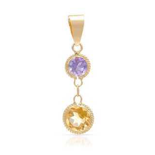 14k Yellow Gold Amethyst and Citrine Pendant Necklace