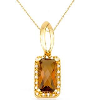 14k Yellow Gold Cognac Quartz Diamond Accent Pendant Necklace
