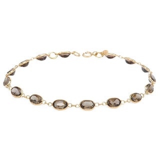 14k Yellow Gold Smokey Quartz Bracelet