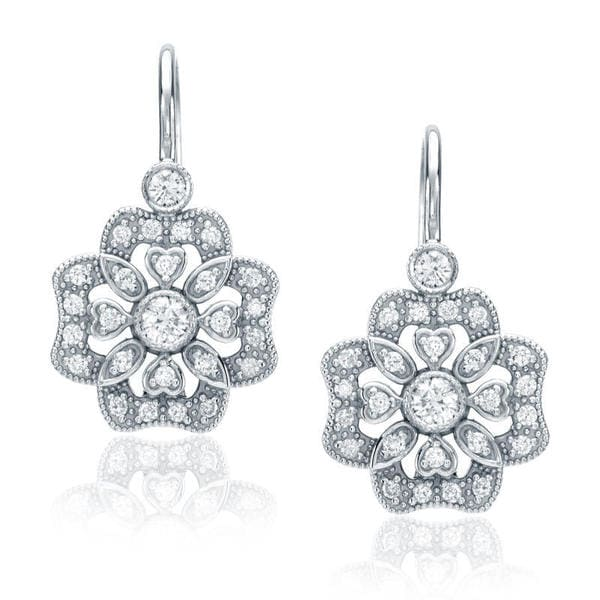 14k White Gold 2/5ct Floral Diamond Dangle Earrings (G-H, SI1-SI2)