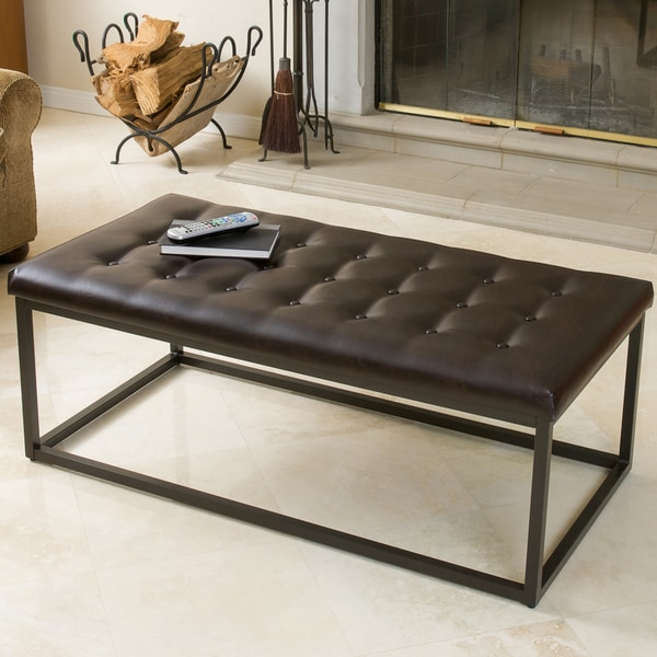 Babette Brown Leather And Steel Frame Ottoman By Christopher Knight Home by Christopher Knight Home