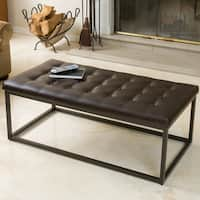 Babette Brown Leather and Steel Frame Ottoman by Christopher Knight Home