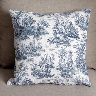 18 x18-inch Blue and White Toile Pillow Cover