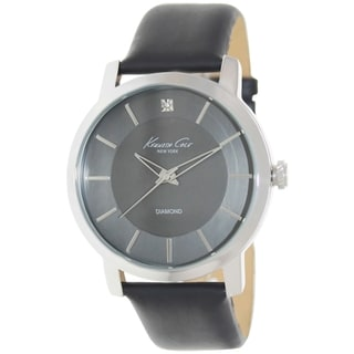 Kenneth Cole Men's KC1986 Black Leather Quartz Watch with Black Dial