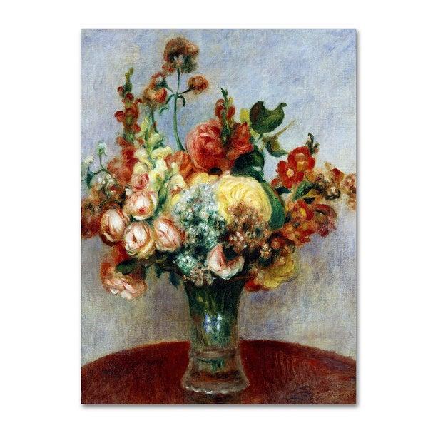 Pierre Renoir 'Flowers In a Vase 1898' Canvas Art - Multi