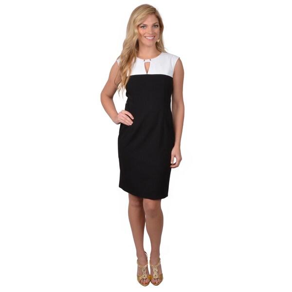 Calvin Klein Women's Black/ White Sleeveless Colorblocked Dress