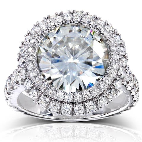 Annello by Kobelli 14k White Gold 5 7/8ct TGW Large Moissanite and Diamond Round Double Halo Statement Ring