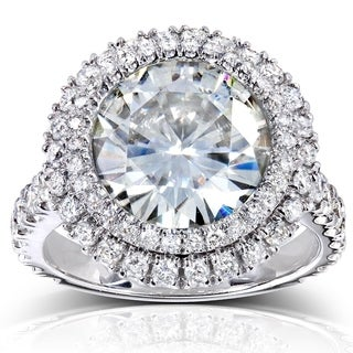 Annello by Kobelli 14k White Gold 5 7/8ct TGW Large Moissanite (HI) and Diamond Round Double Halo Statement Ring