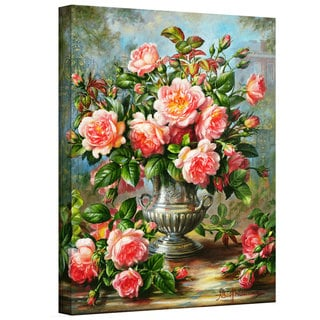 Art Wall Albert Williams 'English Elegance Roses in a Silver Vase' Gallery-Wrapped Canvas