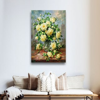 Art Wall Albert Williams 'Princess Diana Roses in a Cut Glass Vase' Gallery-Wrapped Canvas