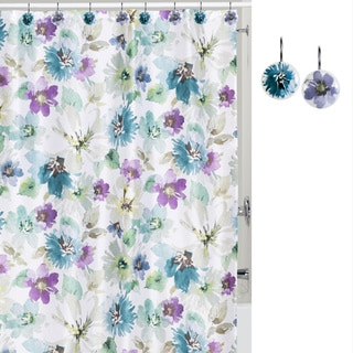 Watercolor Bouquet Shower Curtain and Hook Set