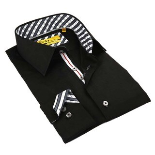 Brio Men's Black Stitched Collar Shirt