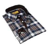 Brio milano Brown Blue plaid Cotton Button Down Men's Shirt