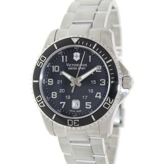 Victorinox Swiss Army Men's 241436 Silver Stainless-Steel Swiss Quartz Watch with Black Dial