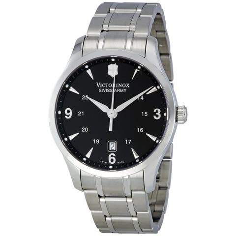 Victorinox Swiss Army Men's 241473 Silver Stainless-Steel Swiss Quartz Watch with Black Dial