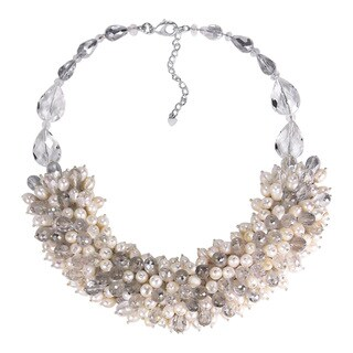 Handmade Infinite Blossoms White Pearl and Crystal Medley Necklace (Thailand)
