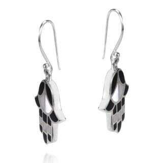Handmade .925 Sterling Silver Inlaid GemstoneJewish Hamsa Hand Dangle Earrings (Thailand)