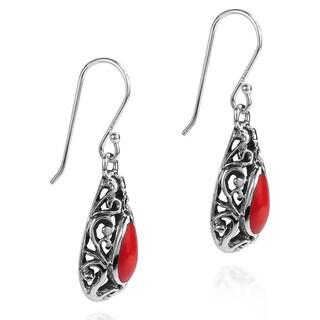 Inlaid Stone Filigree Swirl Teardrop .925 Silver Earrings (Thailand)