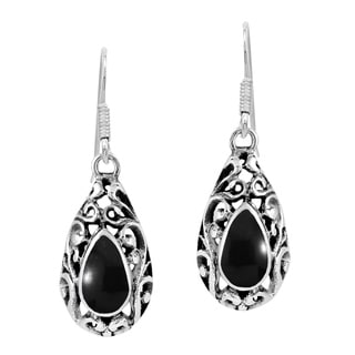 Inlaid Stone Filigree Swirl Teardrop .925 Silver Earrings (Thailand)