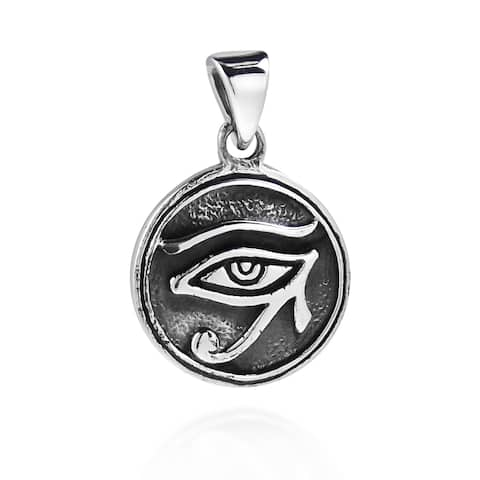 Handmade Circle Eye of Horus Egyptian Symbol .925 Silver Pendant (Thailand)