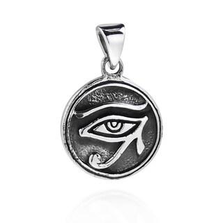 Handmade Circle Eye of Horus Egyptian Symbol .925 Silver Pendant (Thailand)