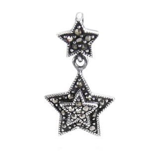 Handmade Trendy Double Star Marcasite Sterling Silver Pendant (Thailand)