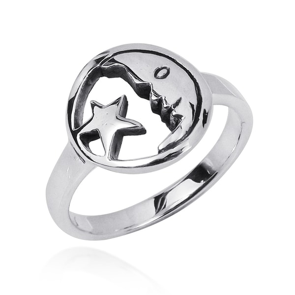 Handmade Goodnight Moon and Star Duo 925 Sterling Silver Ring