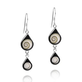 Handmade Black Shiva Swirl Teardrop Shell Silver Earrings (Thailand) - black-white