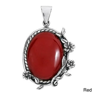 Handmade Vintage Style Floral Vines Oval Stone .925 Silver Pendant (Thailand)