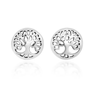 Handmade Flourishing Tree of Life Sterling Silver Stud Earrings (Thailand)
