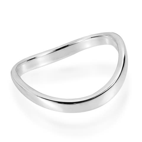 Handmade Trendy Wave Band .925 Sterling Silver Contemporary Ring (Thailand)