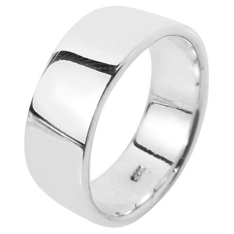 Handmade Simple 8mm Wide Plain Band Sterling Silver Ring (Thailand)