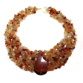 Handmade Autumn Princess Orange Oval Agate Medallion Necklace (Philippines)