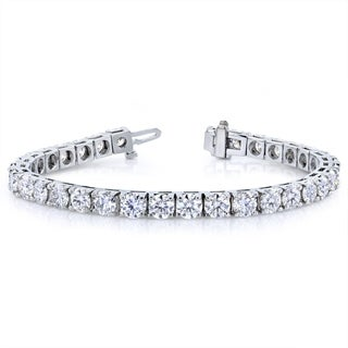 Annello by Kobelli 10k White Gold 16 1/2 Carats TGW Moissanite (HI) Tennis Bracelet