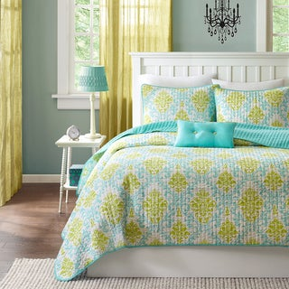 Mi-Zone Paige Teal and Yellow 3-piece Quilt Set