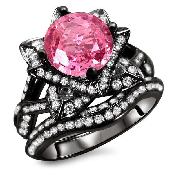 noori 14k black gold 2 14ct certified pink sapphire and diamond ring set - Black And Pink Wedding Ring Sets