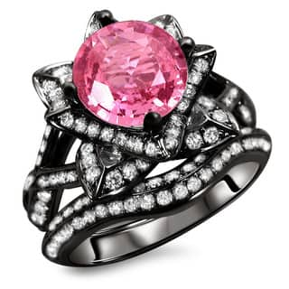 Noori 14k Black Gold 2 1/4ct Certified Pink Sapphire and Diamond Ring Set (G, SI1-SI2)|https://ak1.ostkcdn.com/images/products/8611953/14k-Black-Gold-2-3-4ct-Certified-Pink-Sapphire-and-Diamond-Ring-Set-G-SI1-SI2-P15879620.jpg?impolicy=medium