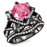 and engagement ring cut black pink wedding white cubic rings cushion zirconia