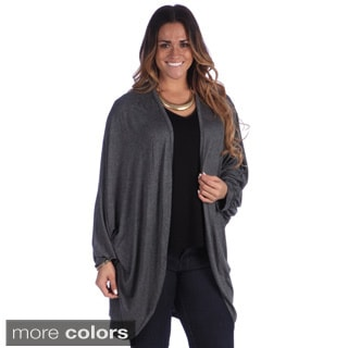 24/7 Comfort Apparel Women's Plus Size Dolman Sleeve Shrug