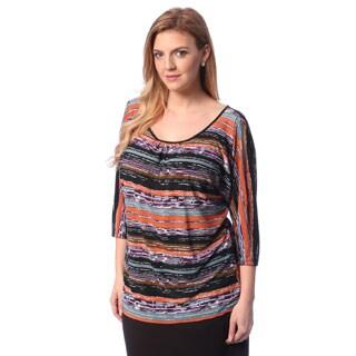 24/7 Comfort Apparel Plus Size Women's Printed 3/4 Sleeve Open Shoulder Top