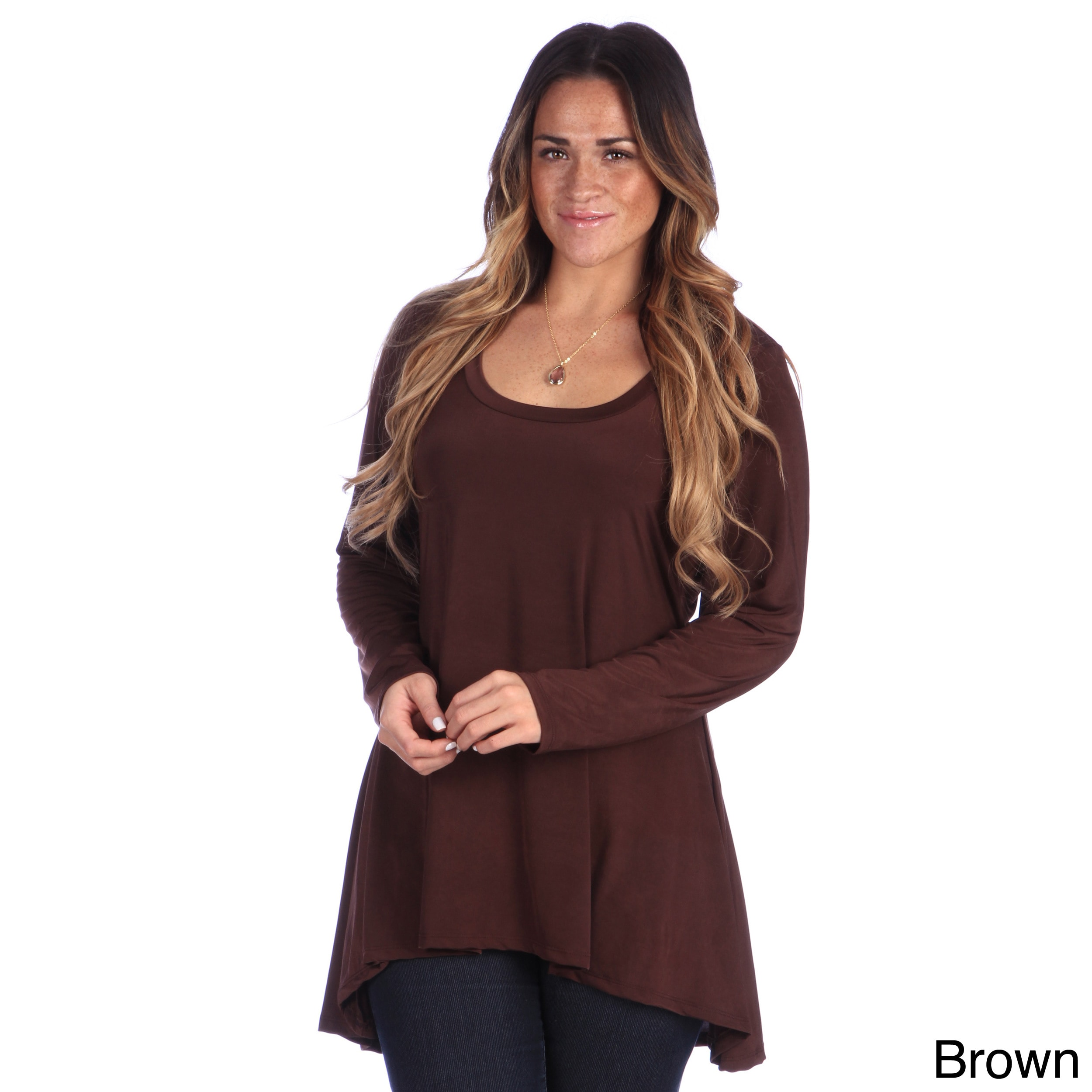 Women Plus Size Tops Cotton Solid Print Long Sleeve Loose Shirt Blouse Brown