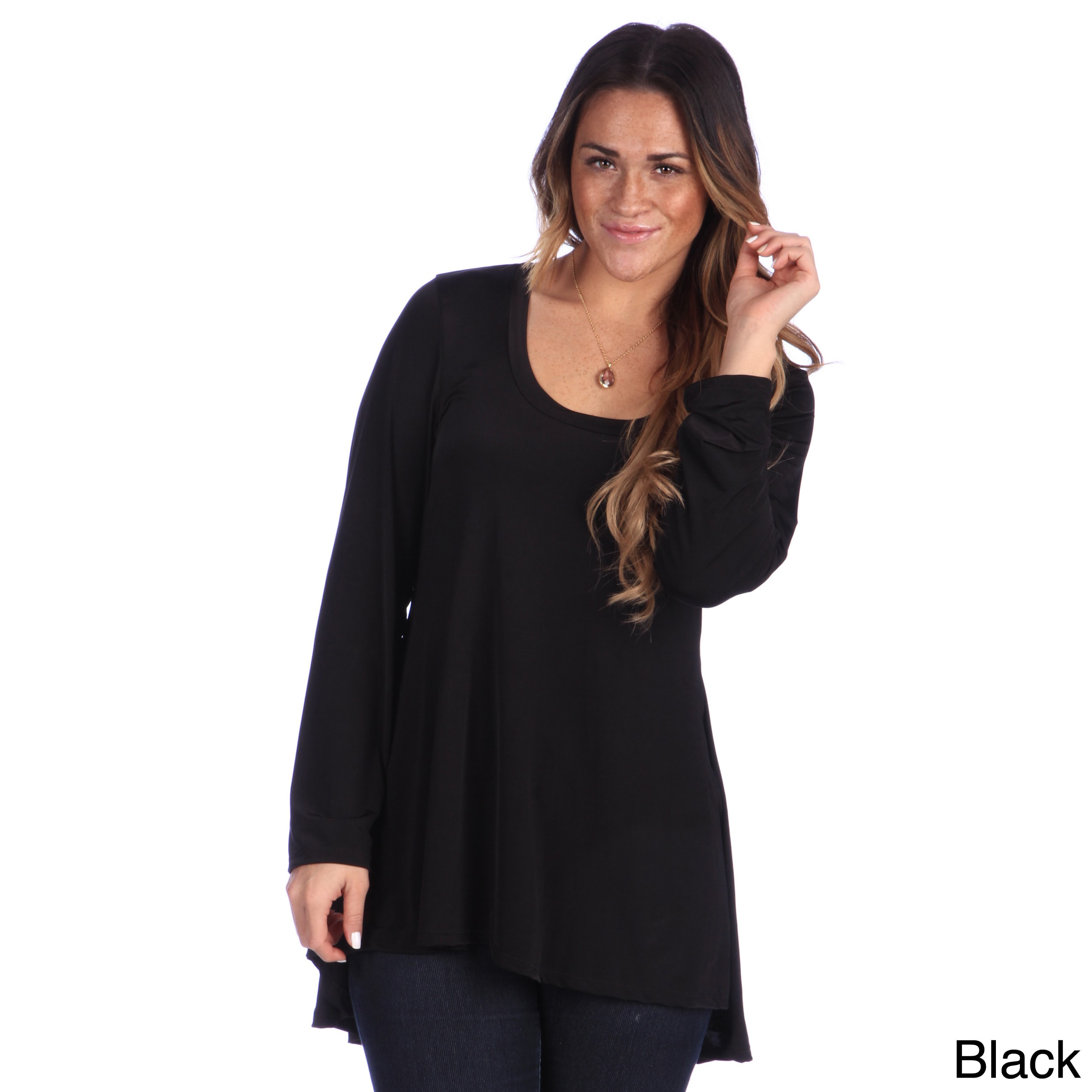 Sizes S-1XL Made in USA 24seven Comfort Apparel Womens Long Sleeve Empire Waist Pleated Tunic Top