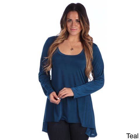 24/7 Comfort Apparel Plus-size Women's Printed Long-sleeve High-Low Tunic Top