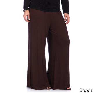 24/7 Comfort Apparel Women's Plus Wide-leg Palazzo Pants (More options available)
