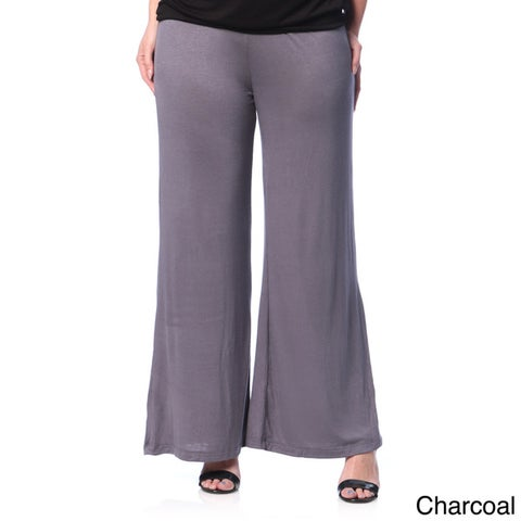 24/7 Comfort Apparel Women's Plus Wide-leg Palazzo Pants